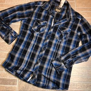 BKE Blue Plaid Men's Large Snap Slim Fit $49 NWT